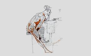 фотокартина, печать на холсте на заказ Украина ArtHolst drawing, pencil, pub, bar, drink, waiter, zelko, radic, bfvrp