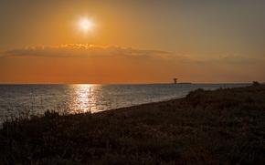Витино, Евпатория, Крым, Россия, море, берег, трава, небо, облака, солнце, вечер, закат, локатор, РТ-70, природа, пейзаж