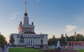 ENEA, Moscow, Russia, architecture, ussr, monument, lenin, FOUNTAIN, building, column, spire, star, coat of arms, sky, clouds, trees