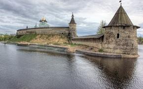 Chrome, Pskov, Russia, Great River, sky, clouds, city
