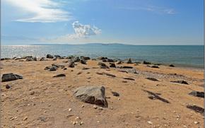 Берег, Краснодарский край, Россия, лето, небо, облака, просторы, побережье, море, песок, камни, корабль, пейзаж