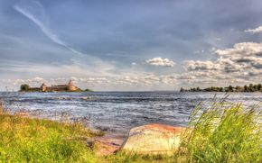 Fortress Oreshek, Nut Island, the source of the Neva, Leningrad region, Russia, summer, sky, clouds, home, grass, landscape