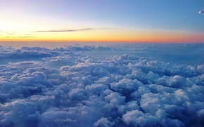 sky, clouds, sunset, landscape, view from the airplane