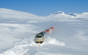 Norway, snow, train