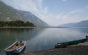 Lake Teletskoe, Altai, Russia, shore, Boat, sand, Mountains, trees, sky, clouds, beauty, summer, landscape, joy