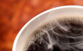 черный, кофе, пузырьки, горячий, бодрость