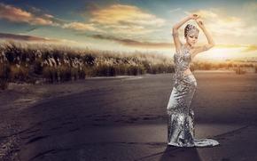 азиатка, фигура, поза, платье, наряд, закат