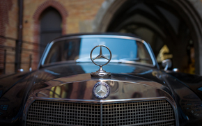 Mercedes-Benz, hood, icon, grill