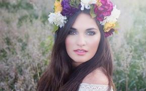 лицо, взгляд, волосы, венок, цветы