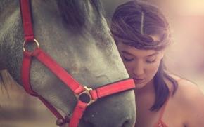 Arancha Ari Arevalo, модель, лошадь, конь, морда, настроение