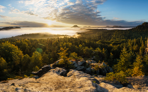 Elbe Sandstone Mountains, Saxon Switzerland, Saxony, Germany, Elbe Sandstone Mountains, Saxon Switzerland, Saxony, Germany, Mountains, forest, morning, DAWN, rise, fog, panorama