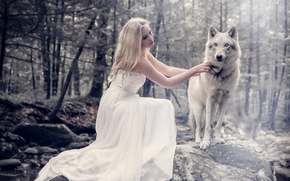 girl, dress, wolf, forest