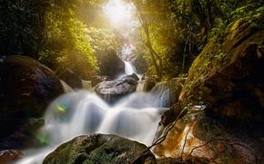 Pernambuco, Brasil, Sarda, Cataratas Bridal Veil, Queda nupcial do v?u, Bridal Veil Falls, cachoeira, pedras, Boulders, floresta