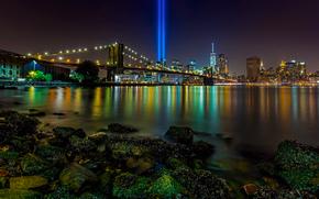 Nova York, East River, Manhattan, Tributo em Luz, Brooklyn Bridge, Nova Iorque, instala??o, Rays, vida noturna da cidade, ponte, estreito, pedras