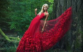 model, pozować, Red Dress, ubierać, drzewo