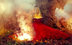 girl, model, Red Dress, dress, fire, book, magic