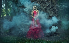 girl, model, Red Dress, dress, figure, violin, smoke, forest