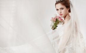 девушка, невеста, фата, розы, цветы, взгляд