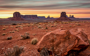 sunset, Monument Valley, USA, Mountains, evening, sky, clouds, Rocks, landscape