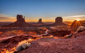 закат, долина монументов, США, горы, вечер, небо, облака, скалы, пейзаж