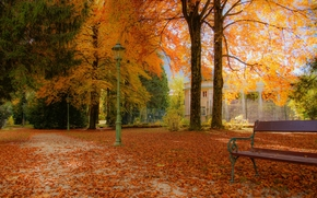 autumn, park, road, building, trees, lantern, A bench, landscape