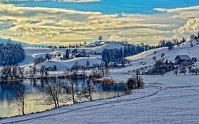 дорога, дома, озеро, холмы, зима, деревья, пейзаж