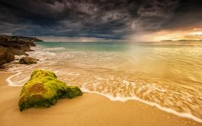 NUVENS, costa, mar, praia, p?r do sol, paisagem