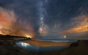 night, sky, Star, galaxy, Milky Way, space, landscape, America, California, shore, beach