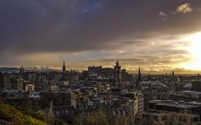 Edimburgo, Scozia, città, crepuscolo, domestico, cielo
