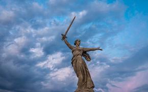 Мамаев курган, статуя, Родина-Мать, Волгоград, Россия, СССР, монумент, памятник, город, меч, небо