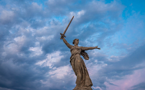 Mamaev Kurgan, statua, madrepatria, Volgograd, Russia, URSS, monumento, monumento, città, spada, cielo