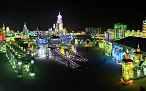 Festival del ghiaccio, Harbin, Porcellana, panoramica