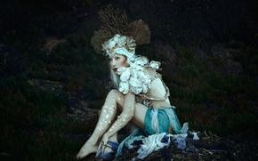 фотокартина, печать на холсте на заказ Украина ArtHolst Jessica Dru, сирена, наряд, корона, кораллы, фантазия