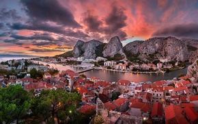 Omiš, croatia, Cetina River, Adriatic sea, Omis, Croatia, River Cetina, Adriatic Sea, sunset, panorama, building, Mountains