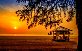 Tanjung Rhu Beach, Langkawi, Malasia, Mar de Andamán, Langkawi, Malasia, Mar de Andamán, puesta del sol, mar, playa, cenador, árbol