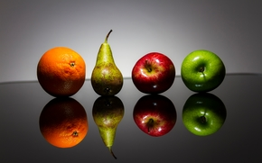 fruit, apples, pear, orange