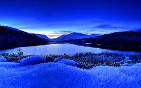 Llyn Padarn Lake, Snowdonia, закат, озеро, пейзаж