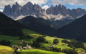 Italia, Санта-Маддалена, Trentino Alto Adige, Трентино-Альто-Адидже, Santa Maddalena, Италия, горы, холмы, дома, деревья, пейзаж