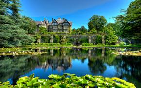 парк, дом, Great Britain, пруд, Bodnant Gardens, деревья, пейзаж