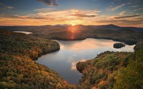 Nichols Pond, Woodbury, Vermont, Woodbury, Vermont, pond, lago, tramonto, foresta, autunno, panorama