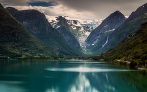 Parque Nacional Jostedalsbreen, Stryn, Geleira Briksdal, Noruega, Briksdalsbreen, Briksdal Glacier, lago, Montanhas