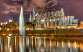 Cathedral of Santa Maria of Palma, Palma Cathedral, La Seu, Palma, Majorca, Spain, Cathedral of Santa Maria, Palmsky Cathedral, La Seu, Palma de Mallorca, Spain, cathedral, pond, FOUNTAIN, wall, embankment