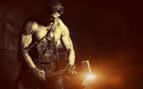 guy, hunky, glasses, Sledgehammer, hammer, metal