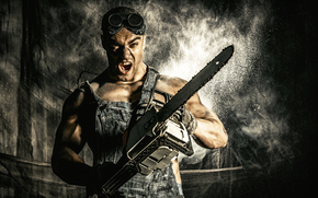 guy, hunky, glasses, chainsaw, overall