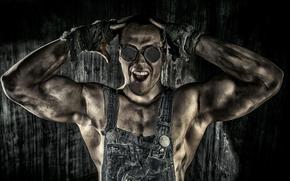 фотокартина, печать на холсте на заказ Украина ArtHolst парень, работяга, мышцы, очки