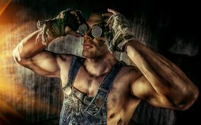 фотокартина, печать на холсте на заказ Украина ArtHolst парень, чумазый, работяга, руки, очки