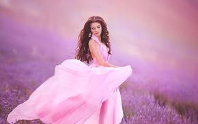 model, makeup, dress, meadow, lavender