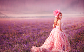 model, view, dress, bow, meadow, lavender