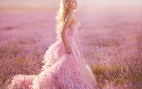модель, платье, луг, лаванда