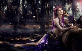 азиатка, наряд, украшения, настроение, лес